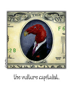 Vulture Painting - The Vulture Capitalist... by Will Bullas