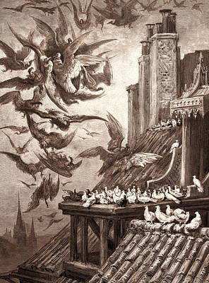 Vulture Drawing - The Vultures And The Pigeons by Litz Collection
