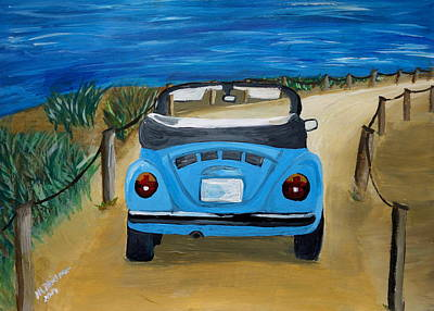 The Vw Bug Series - The Blue Volkswagen Bug At The Beach Original by M Bleichner