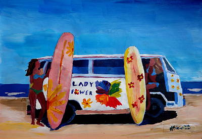 Bulli Painting - The Vw Volkswagen Bulli Series - The Lady Power Surf Bus by M Bleichner