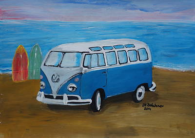 Bulli Painting - The Vw Volkswagen Bulli Series -the One With Surf Boards by M Bleichner