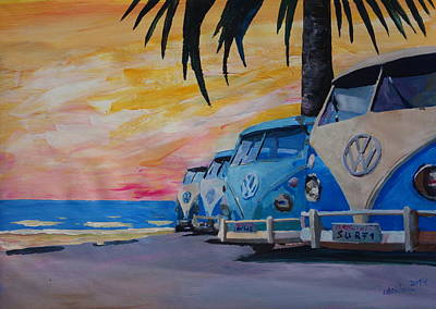 Bulli Painting - The Vw Volkswagen Bulli Series - The Blue Surf Bus Line by M Bleichner