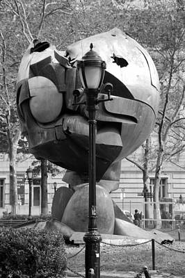 Photograph - The W T C Plaza Fountain Sphere In Black And White by Rob Hans