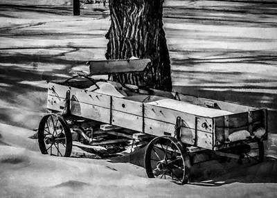 Digital Art - The Wagon Bw by Ernie Echols
