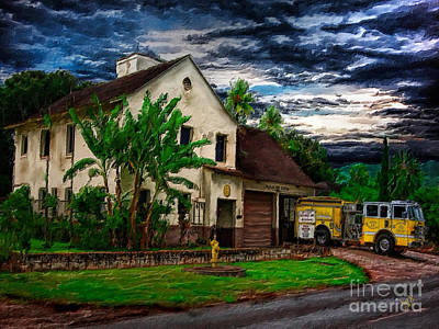 Haleiwa Digital Art - The Waialua Firehouse by Patrick J Gallagher