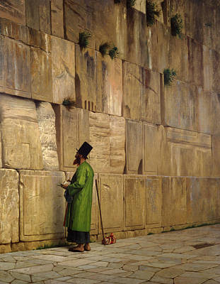 Sites Painting - The Wailing Wall, 1880 by Jean Leon Gerome