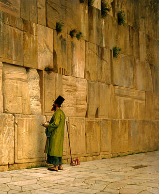 Medieval Temple Painting - The Wailing Wall by J L Gerome