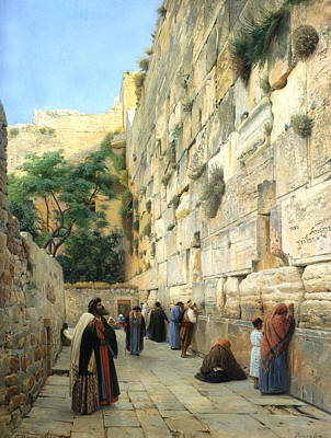 Temple Digital Art - The Wailing Wall Jerusalem by Gustav Bauernfeind