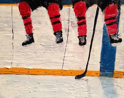 Shinny Hockey Painting - The Wait by Desmond Raymond