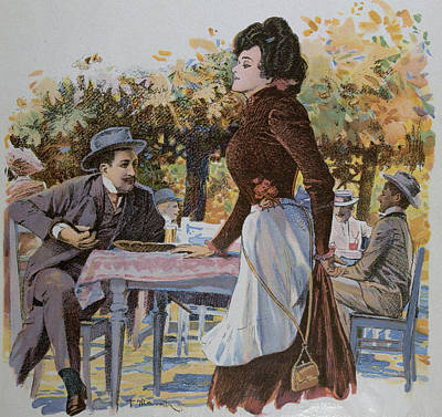 Archives Drawing - The Waitress. Food And Drink, Liszt Gourmet Archive by German School