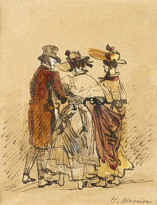 People Drawing - The Walk  by Henri Bonaventure Monnier