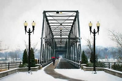 Snowy Digital Art - The Walking Bridge by Lori Deiter