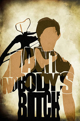 Pop Icon Painting - The Walking Dead Inspired Daryl Dixon Typographic Artwork by Ayse and Deniz