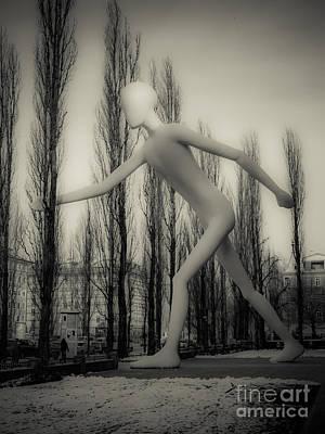 The Walking Man - Bw Art Print by Hannes Cmarits