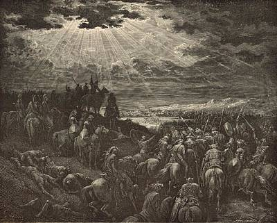 Yahweh Drawing - The War Against Gibeon by Antique Engravings