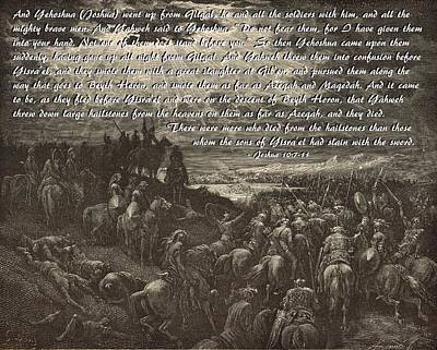 The War Against Gibeon Art Print by Antique Engravings