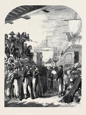 The War Embarkation Of Zouaves At Marseilles Art Print by English School