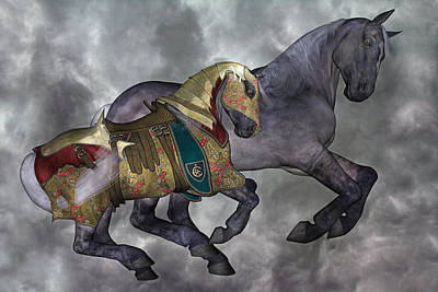 Running Digital Art - The War Horse by Betsy Knapp