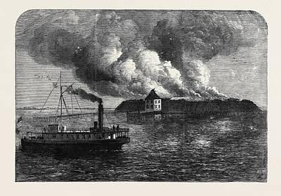 The War In America Fort Ocracoke On Beacon Island North Art Print