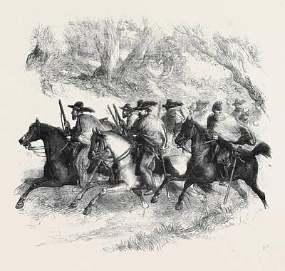 The War In America Texan Rangers Federalists Reconnoitring Art Print