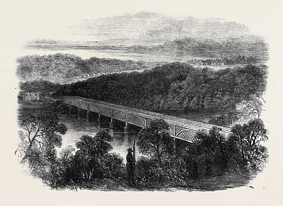 Georgetown Drawing - The War In America The Chain Bridge Across The Potomac by English School