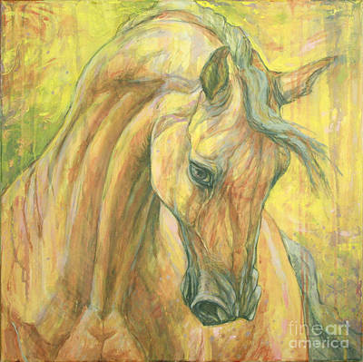 Bay Horse Painting - The Warm-up by Silvana Gabudean Dobre