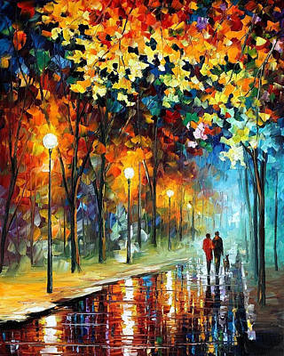 The Warmth - Palette Knife Oil Painting On Canvas By Leonid Afremov Original by Leonid Afremov