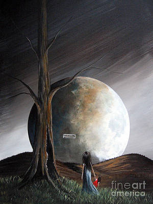 Big Moon Painting - The Warning By Shawna Erback by Shawna Erback
