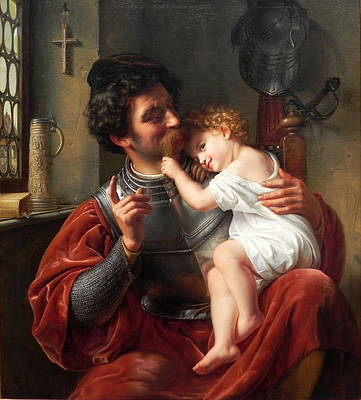 Painting - The Warrior And His Child by Ferdinand Theodor Hildebrandt