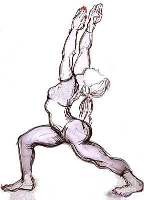 Mixed Media - The Warrior - Yoga Pose by Carolyn Weltman