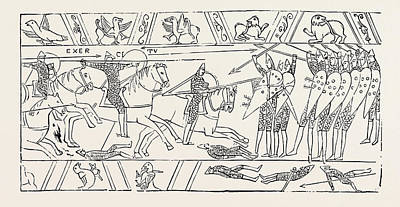 Tapestries - Textiles Drawing - The Warriors Of Hastings From The Bayeux Tapestry by English School