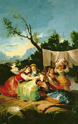 The Washerwomen, Before 1780 Oil On Canvas Art Print