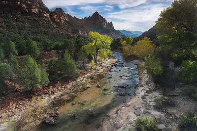 The Watchman In Zion National Park Art Print by Larry Marshall