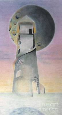 Science Fiction Drawings - The Watchtower by David Neace