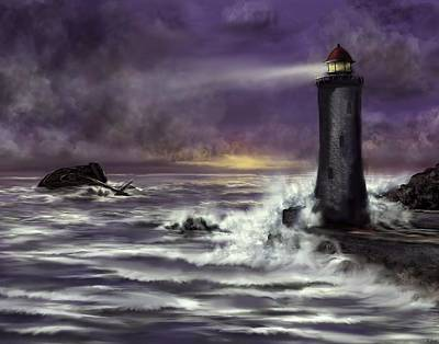 Painting - The Watchtower - Lighthouse In The Storm by Ron Grafe