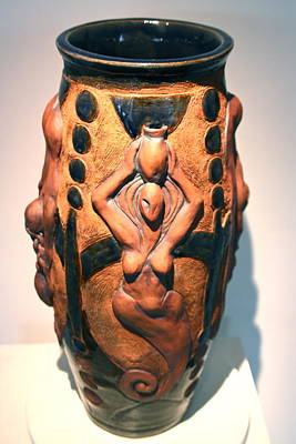 Ceramic Relief Ceramic Art - The Water Bearer - Aquarian by Dan Earle