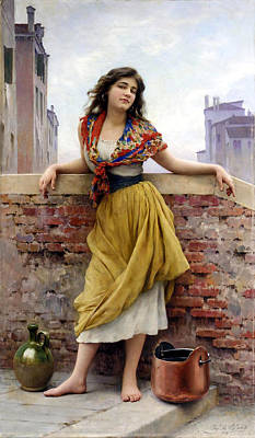 Water Jars Digital Art - The Water Carrier by Eugene de Blaas