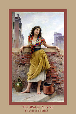 Water Jars Digital Art - The Water Carrier Poster by Eugene de Blaas