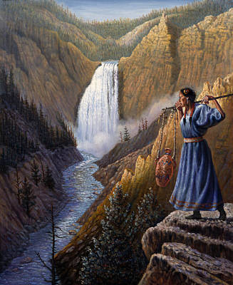Indian Fine Art Painting - The Water Carrier Yellowstone by Gregory Perillo