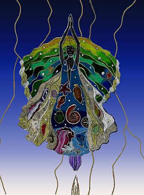Wall Art - Drawing - The Water Goddess by Lori Kirstein