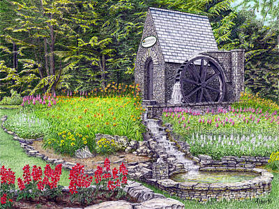 Painting - The Water Wheel At Seven Springs Mountain Resort by Albert Puskaric