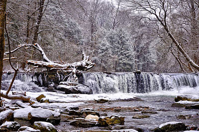 The Waterfall Near Valley Green In The Snow Art Print by Bill Cannon