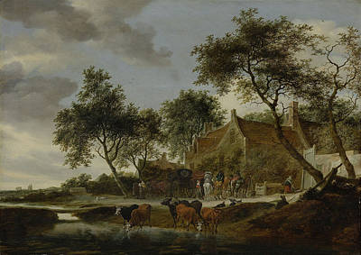 Work Place Drawing - The Watering Place, Salomon Van Ruysdael by Litz Collection