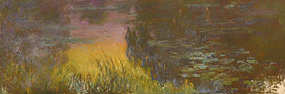 Beautiful Creek Painting - The Waterlilies At Setting Sun by Mountain Dreams