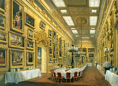 Hyde Park Drawing - The Waterloo Gallery, Apsley House by Richard Ford