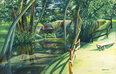 Reflecting Drawing - The Watermill Of Gemage by Christian Simonian