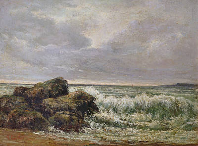 Realism Photograph - The Wave, 1869 Oil On Canvas by Gustave Courbet
