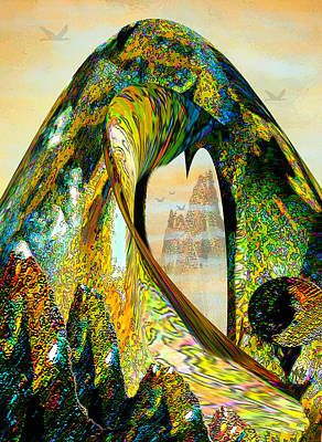 Mixed Media - The Wave And The Mountains by Michele Avanti
