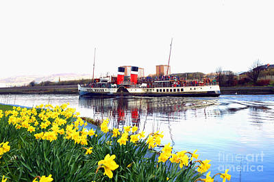The Waverley Sails Down The River Clyde. Print by David Cairns