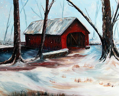 Covered Bridge Painting - The Way Home by Meaghan Troup